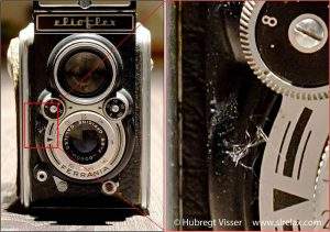 Example of shutter speed equal to the reciprocal of the focal distance. The picture shows a vintage camera and a detail.